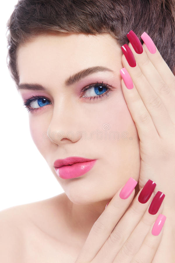 Download Fancy pink manicure stock image. Image of haircut, hairstyle - 36784455