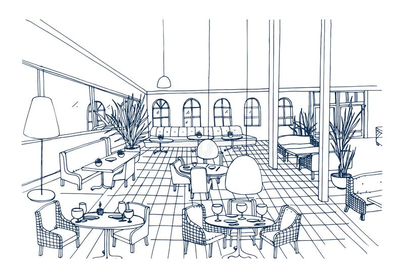 Fancy restaurant or cafe interior with checkered floor and stylish furnishings hand drawn in black and white colors. Freehand drawing of modern bistro stock illustration