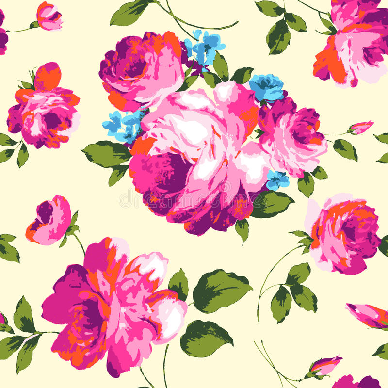 Fancy roses. Colorful big roses print ~ seamless background