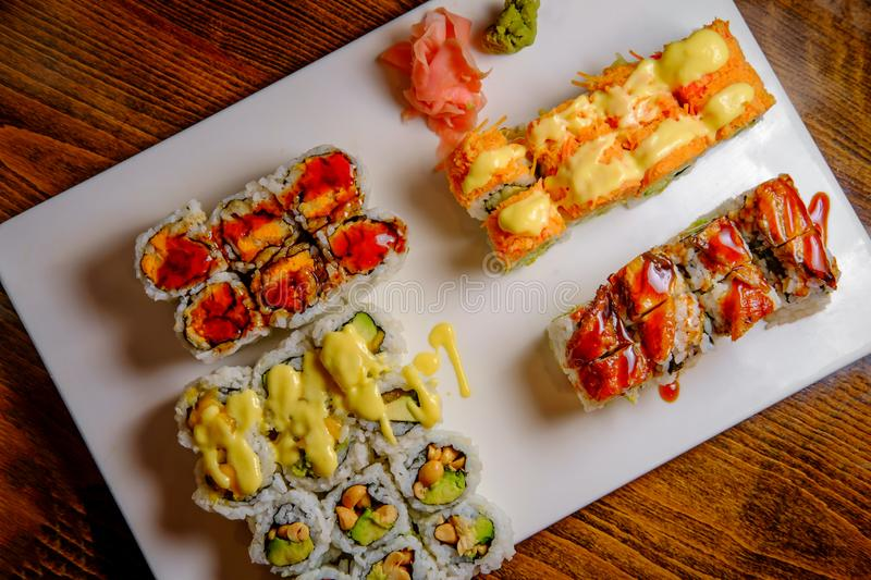 Fancy Sushi Roll Platter. Fancy Japanese chefs special sushi roll platter royalty free stock image