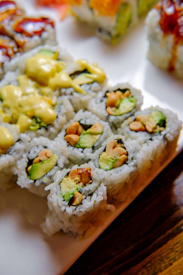 Fancy Sushi Roll Platter. Fancy Japanese chefs special sushi roll platter stock photography
