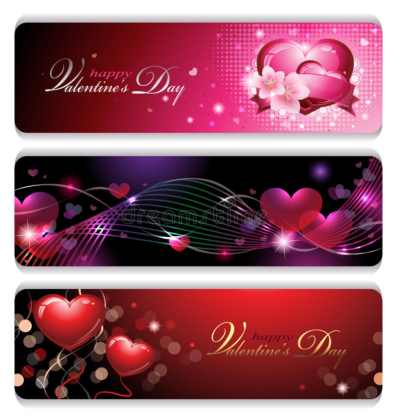 Fancy Valentines Banners Stock Photo