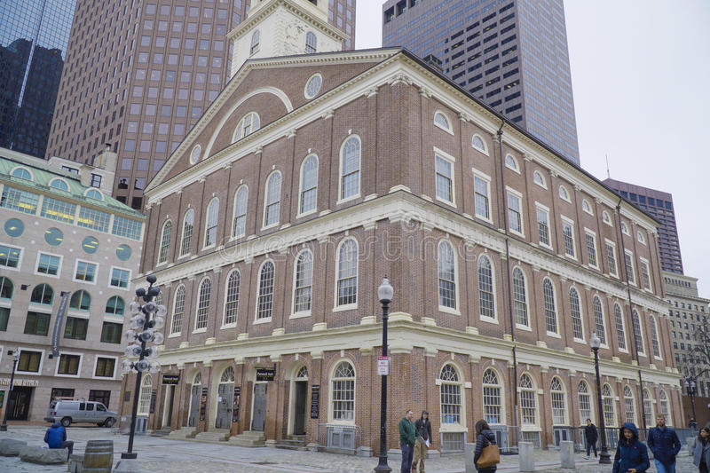 Faneuil Hall in Boston Old Town - BOSTON , MASSACHUSETTS - APRIL 3, 2017 royalty free stock photos