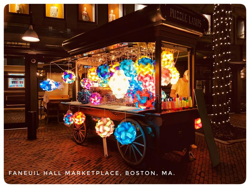 Faneuil Hall Marketplace. A vibrant cart of lanterns at the Faneuil Hall Marketplace. It captures the festive atmosphere of this Old city royalty free stock images