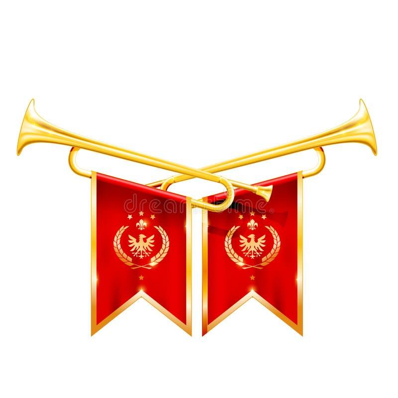 Fanfar för vinnare - två korsade kungliga trumpeter, hornet, triumf royaltyfri illustrationer