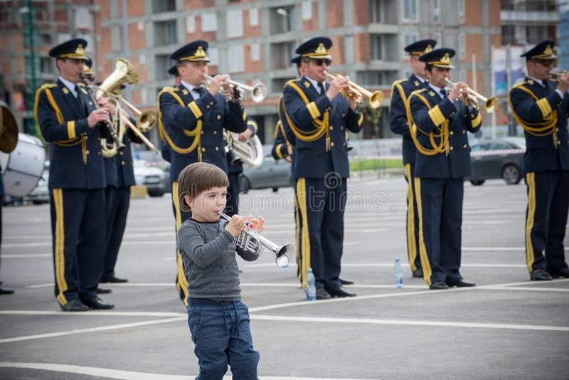 Fanfar Rumänien royaltyfria bilder