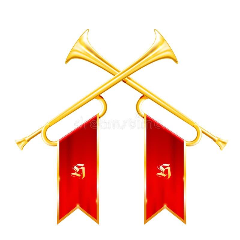 Fanfar - tappning två korsade trumpeter, triumfhorn royaltyfri illustrationer