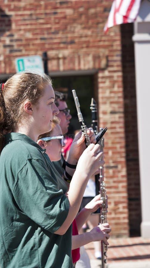 Fanfara nella parata Warrenton, la Virginia di Memorial Day fotografia stock libera da diritti