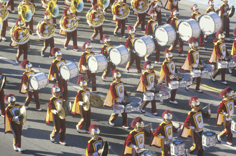 Fanfare d'USC en Rose Bowl Parade, Pasadena, la Californie image stock