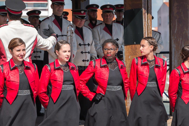 Fanfare dancing in the street stock photos