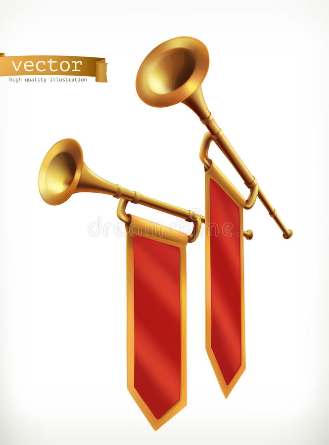 fanfare Goldtrompete Übersetzt Ikone stock abbildung
