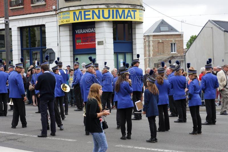 Fanfare het paraderen voor de nationale dag van 14 Juli, Frankrijk stock foto