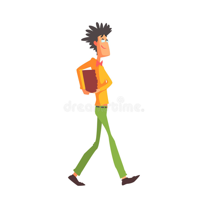 Fanfarrón llamativo Guy Character Carrying Books ilustración del vector