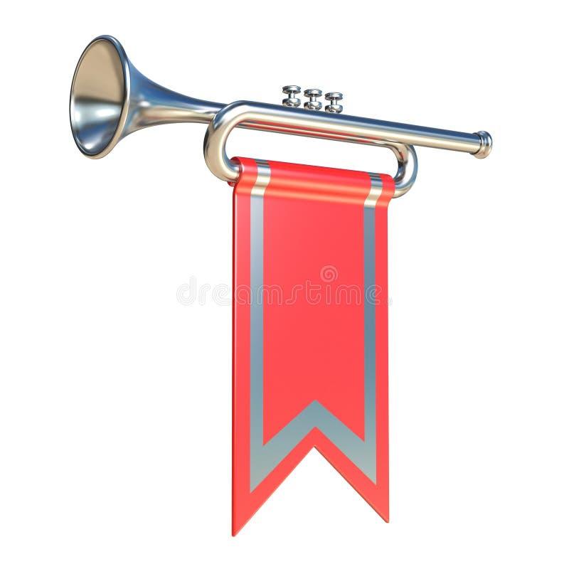 Fanfarsilvertrumpet och röd flagga 3D stock illustrationer
