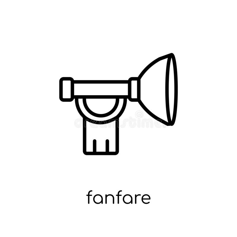 Fanfarsymbol Moderiktig modern plan linjär vektorfanfarsymbol på w stock illustrationer