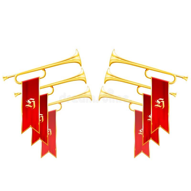 Fanfartriumf - korsade tappningtrumpeter symboliserar härlighet vektor illustrationer