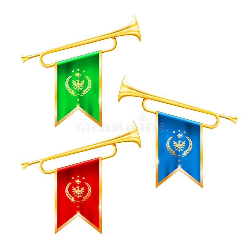 Fanfartrumpeter med flagga-, härlighet- och berömmelsesymbol vektor illustrationer