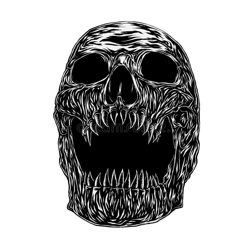 Fang czaszka, Ilustracyjny wektor ilustracji