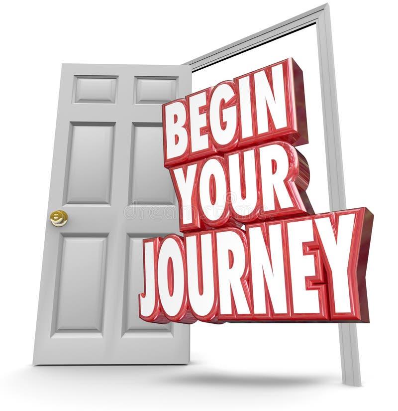 Fangen Sie Ihren Wort-der offenen Tür der Reise-3d Anfang an, der sich jetzt bewegt lizenzfreie abbildung