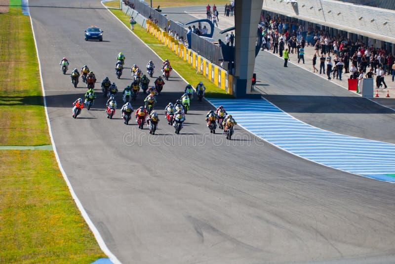 Fangen Sie vom Rennen von Moto2 der CEV Meisterschaft an lizenzfreies stockfoto
