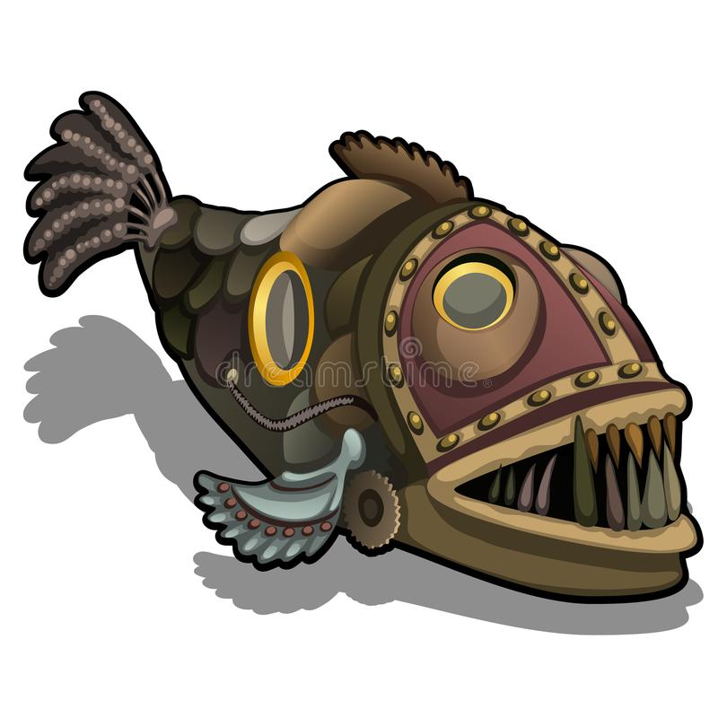 Fangtooth fish in the style of steam punk isolated on white background. Cartoon vector close-up illustration. stock illustration