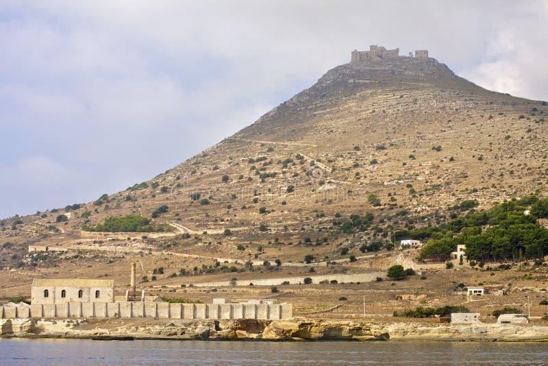 Tonnara and Caterina mounth. Favignana islands, Sicily, Italy royalty free stock images