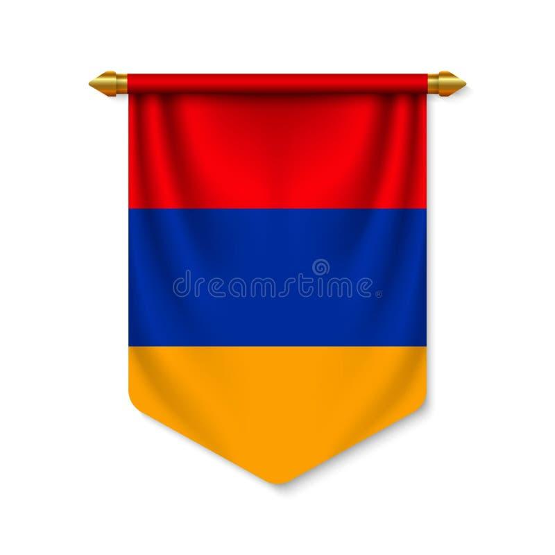 fanion 3d r?aliste avec le drapeau illustration libre de droits