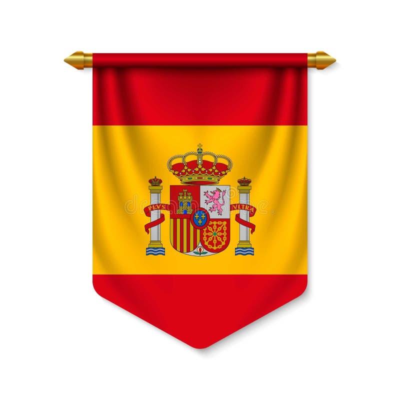 fanion 3d r?aliste avec le drapeau illustration de vecteur