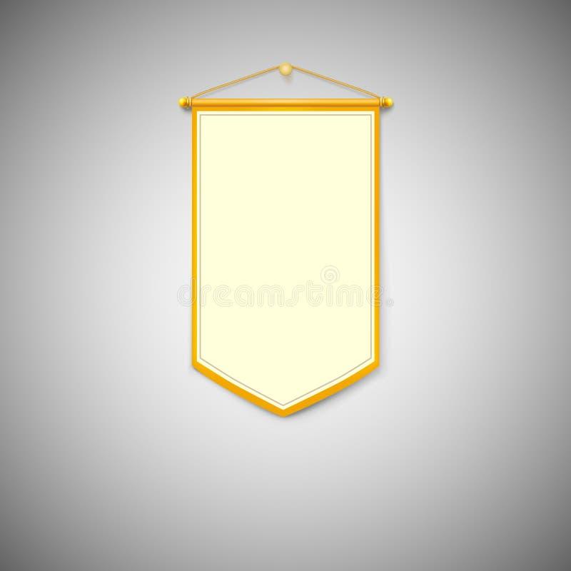 Fanion jaune sur le fond blanc illustration libre de droits