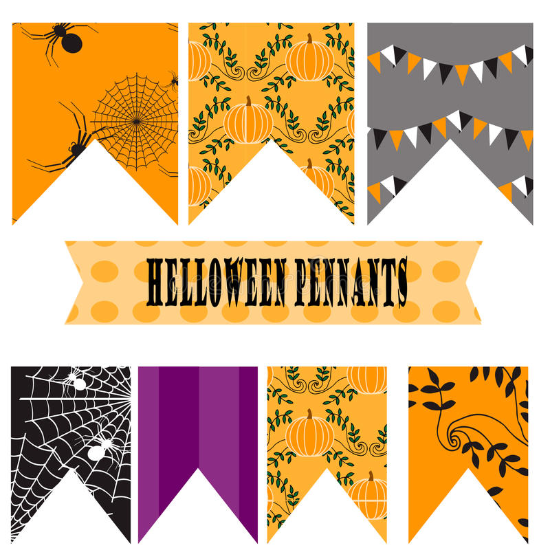 Fanions de Halloween illustration stock