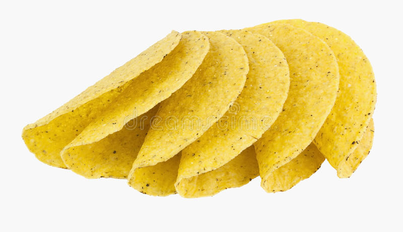 Fanned Display of Yellow Corn Taco Shells stock photos