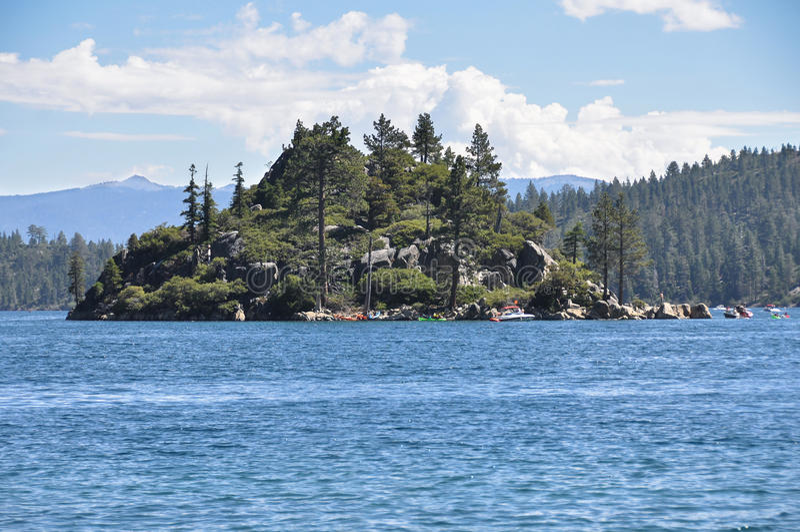 Fannette海岛在Tahoe湖,加利福尼亚 库存照片