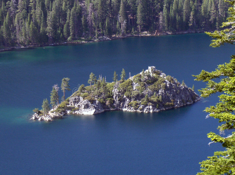 Fannette Island in Lake Tahoe stock images
