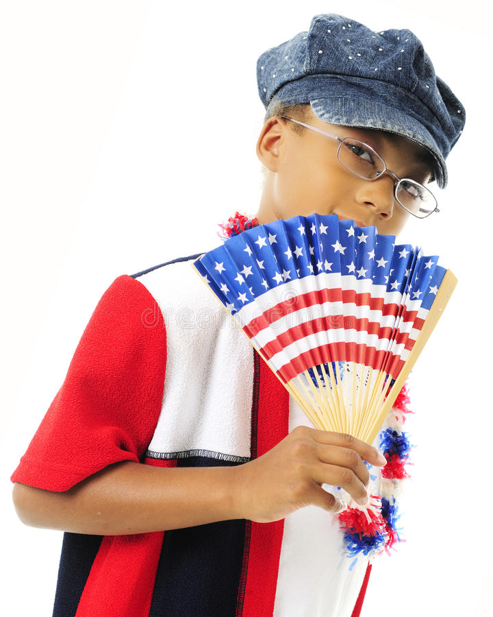 Fanning Young US Patriot stock images