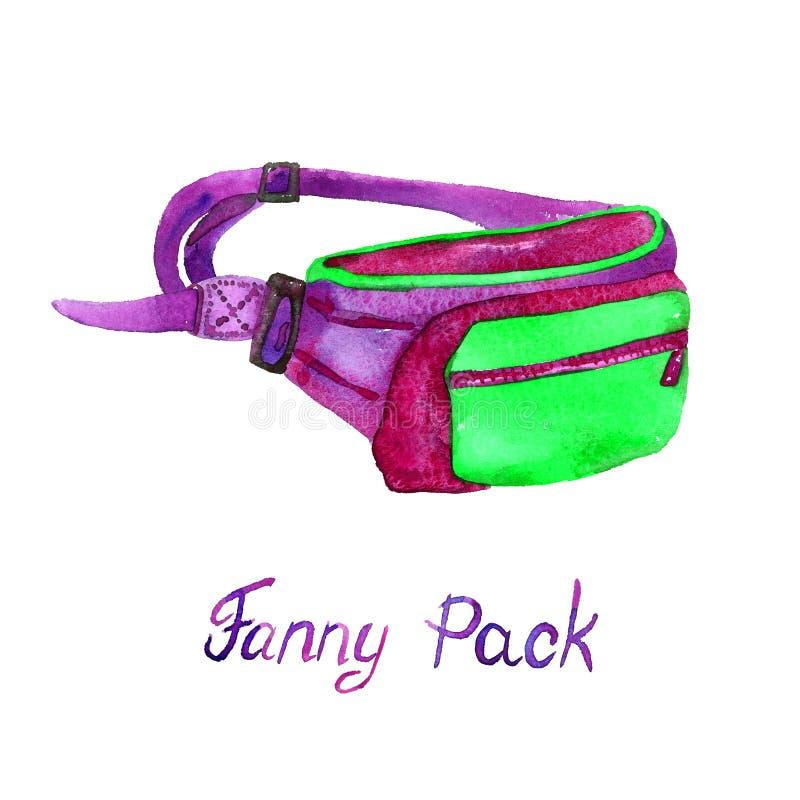 Fanny Belt Pack typ av påsen i gräsplan, lila, palett för röda färger som isoleras på vit bakgrund vektor illustrationer