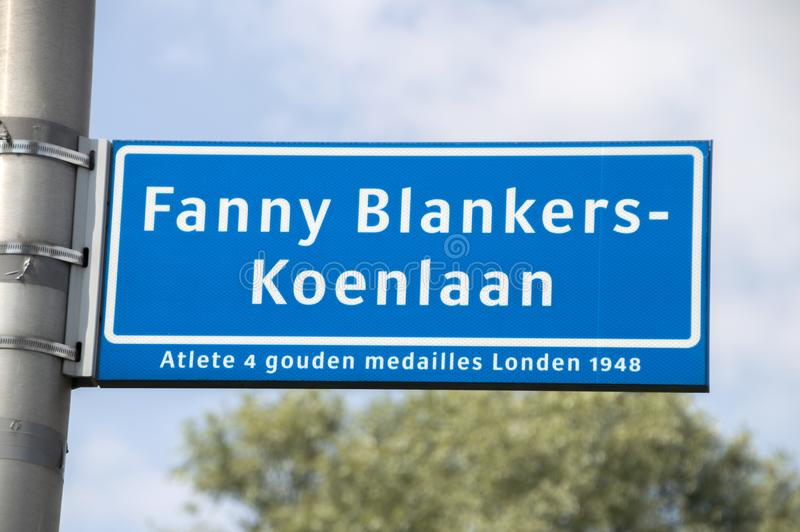 Fanny Blankers-Koenlaan Street Sign At Amstelveen les Pays-Bas 2019 photographie stock libre de droits