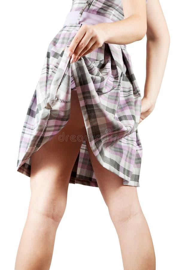 Fanny femelle en test la jupe photographie stock libre de droits