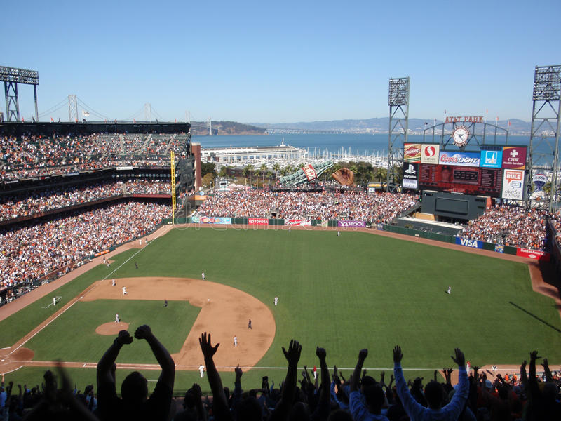 Fans with arms in air after homerrun. Arizona Diamondbacks vs. San Francisco Giants: Fans with arms in air after homerrun by Buster Posey as he trots toward royalty free stock image