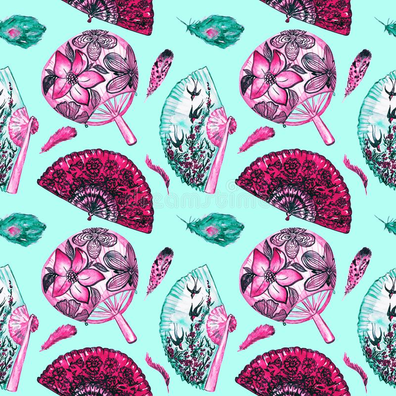 Fans asiatiques avec des fleurs de cerisier, des hirondelles et rond avec le lotus, espagnol avec les pavots noirs, plumes illustration de vecteur