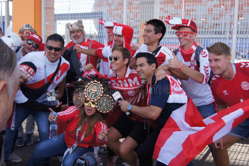 fans av Peru och Danmark royaltyfri foto