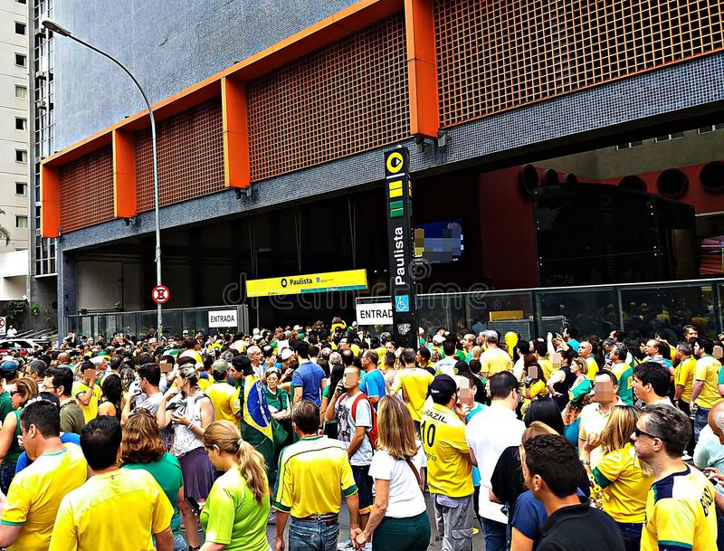 Brazil fans focusing on a world cup match. stock image