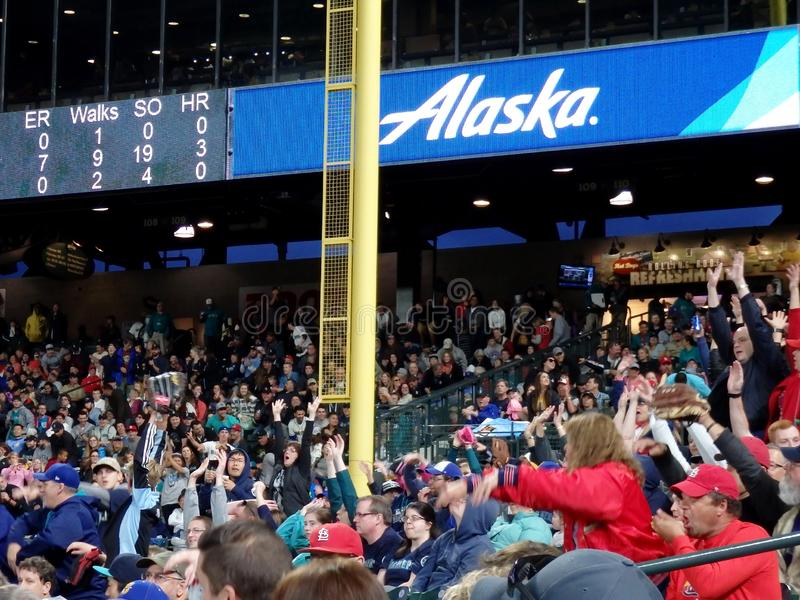 Fans in bleachers do the wave with scoreboard above featuring Alaska Airlines ad royalty free stock photo