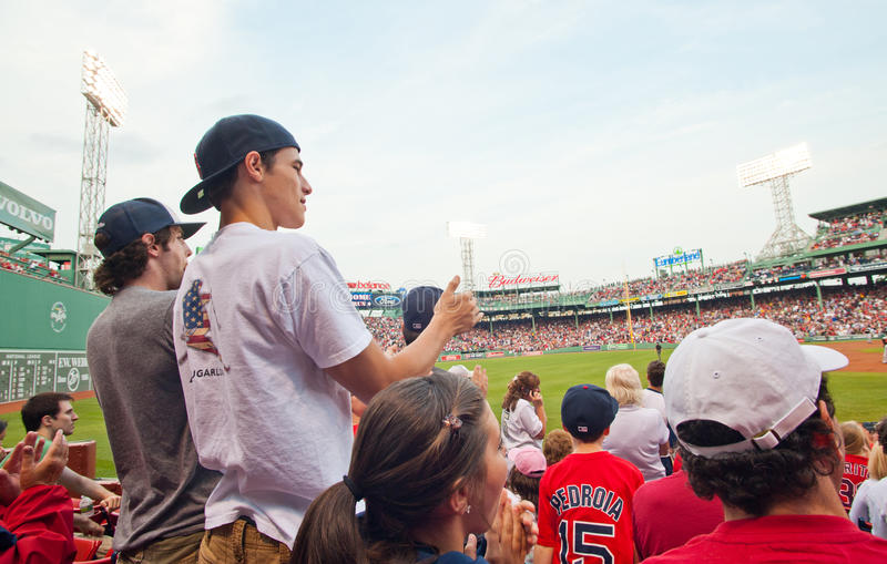 Fans Cheer At A Red Sox Game Editorial Image