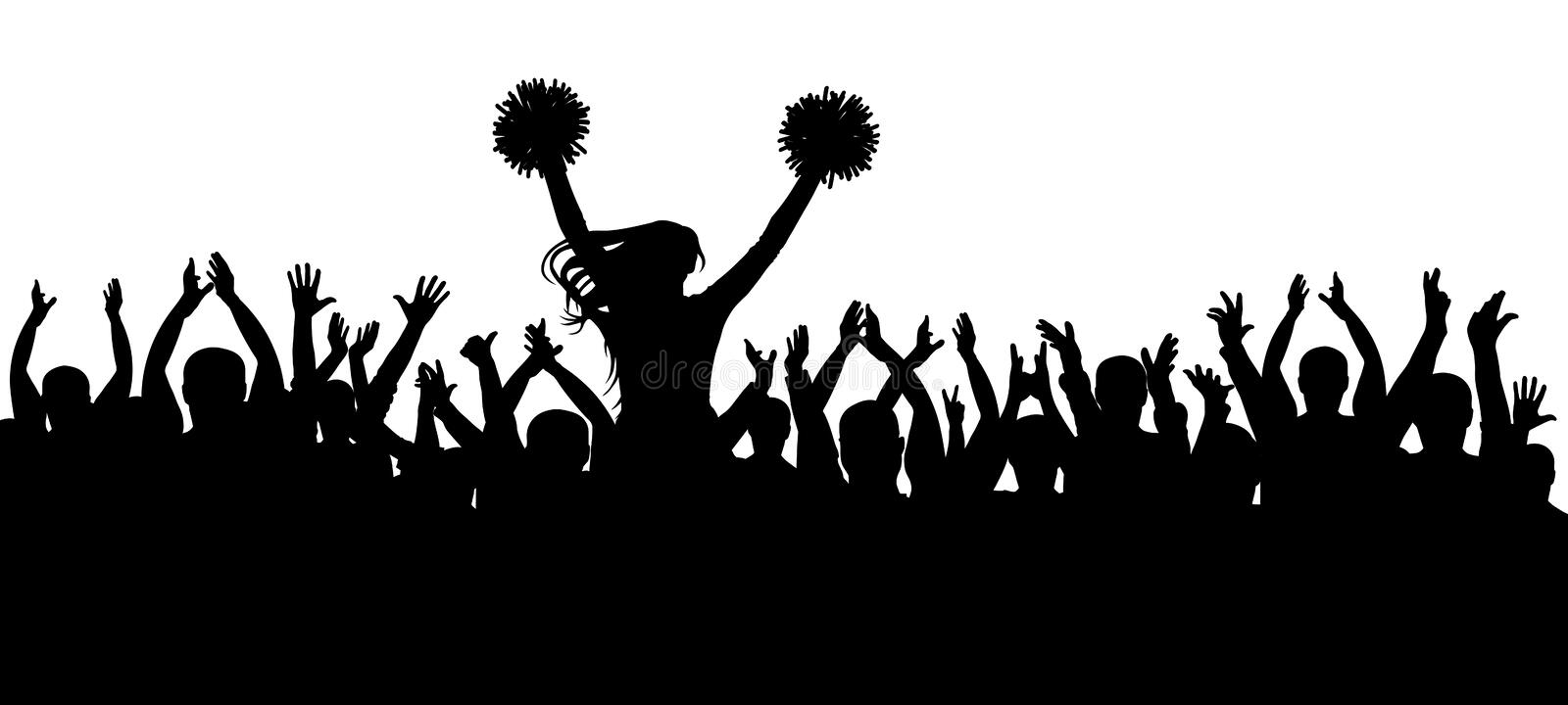 The fans cheering along with the cheerleader silhouette. Crowd. Sport. Vector illustration.  stock illustration