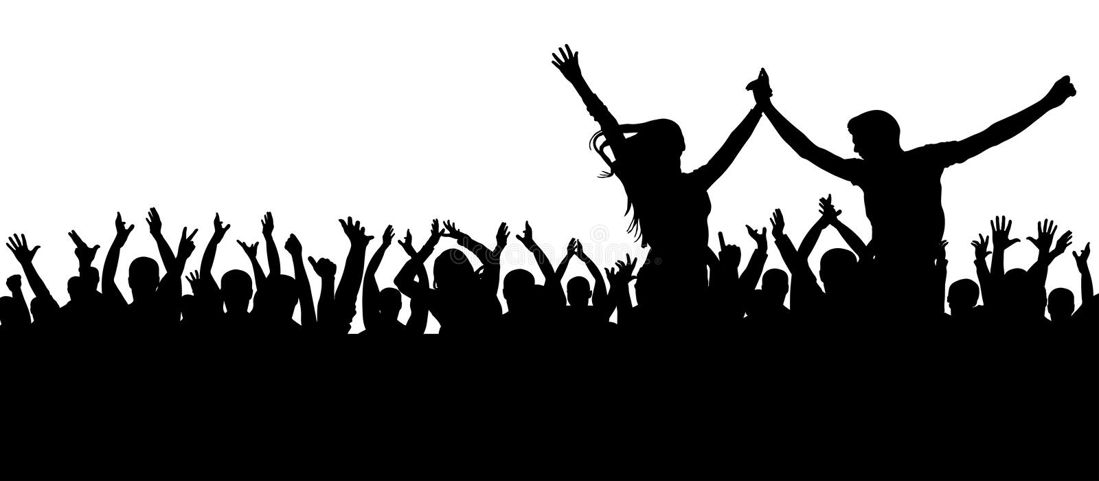 Fans dance concert, disco. Cheerful crowd silhouette. Party people, applaud. Young couple at a party. vector illustration