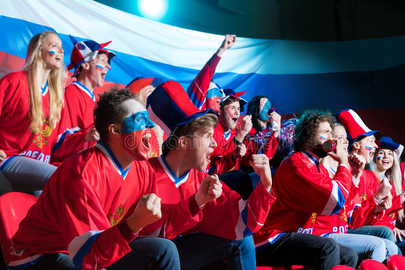 Fans dans le stade photo libre de droits