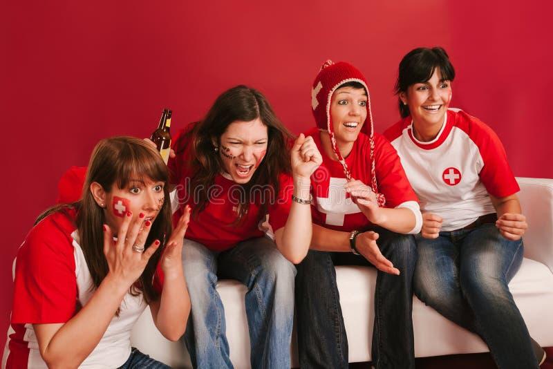 Fans de deportes suizas locas foto de archivo libre de regalías