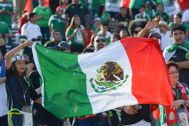 Fans de foot tenant le drapeau du Mexique pendant le Copa Amérique Centenar image stock