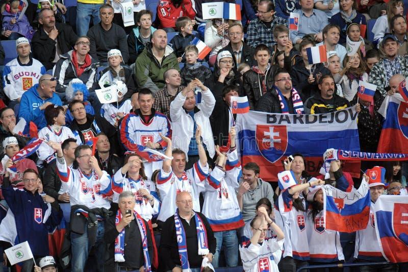 Fans de hockey sur glace photos libres de droits
