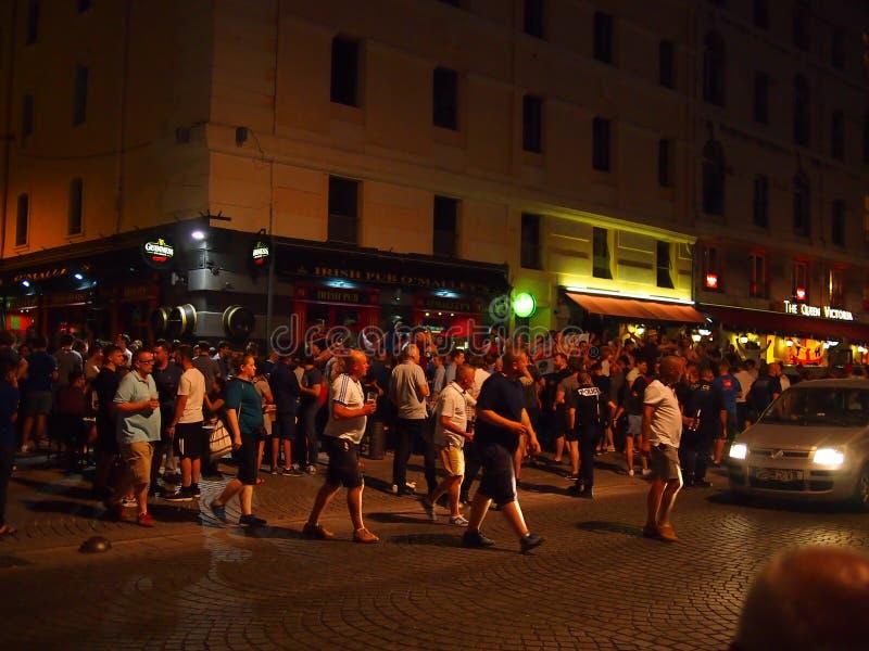Fans de Inglaterra en Marsella imagen de archivo libre de regalías